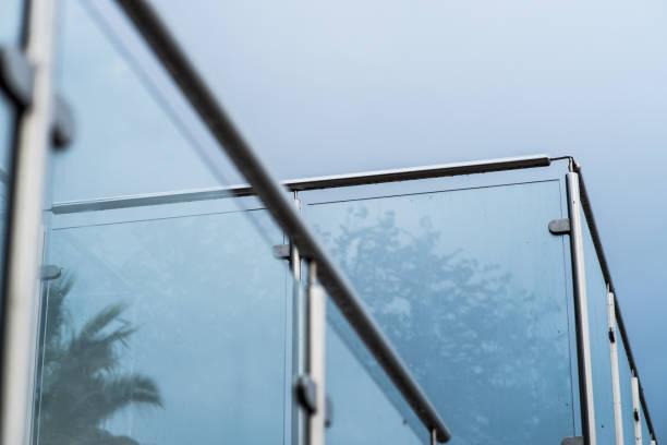 Metal railings and glass wall stock photo