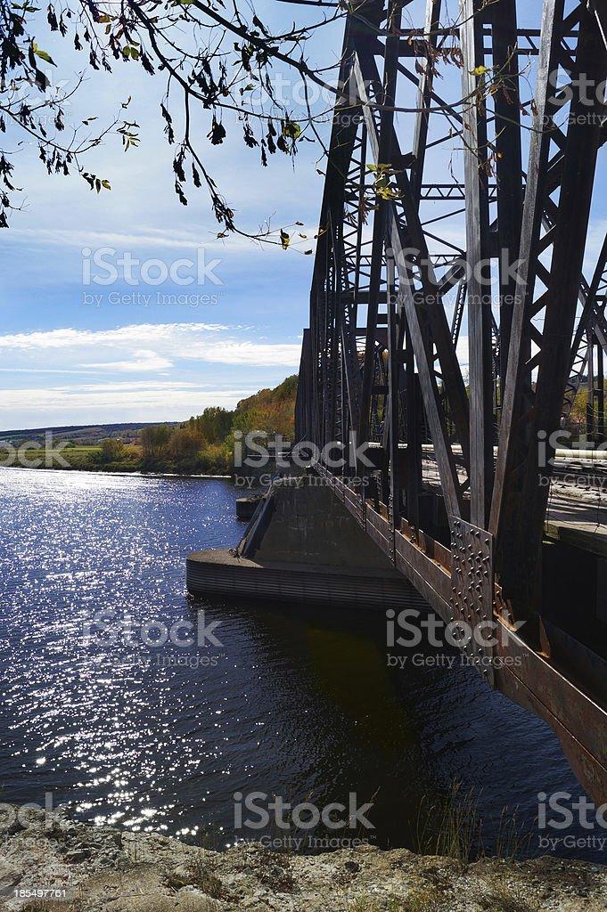 Metal railroad bridge, Quebec, Canada royalty-free stock photo