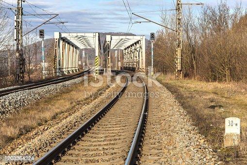 Metal railway bridge over the Svratka River near the town of Tisnov in the Czech Republic - EU. Transport on rails. Railway transport infrastructure.