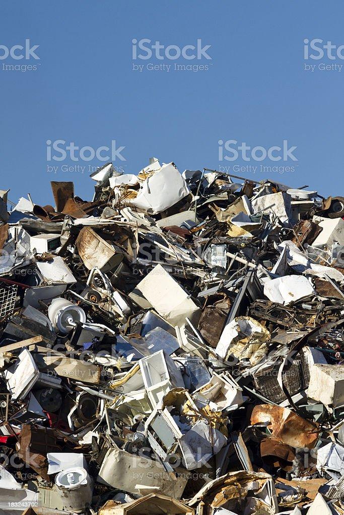 Metal Recycling Junkyard, Blue Sky Vertical, High Horizon royalty-free stock photo