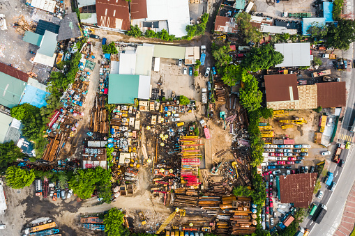 Metal recycling yard from above