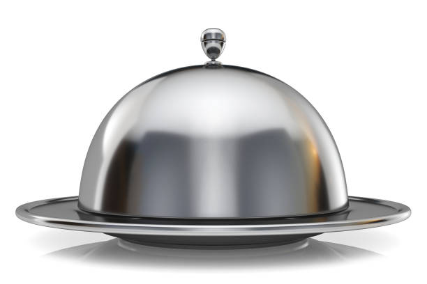 Metal restaurant cloche 3D stock photo