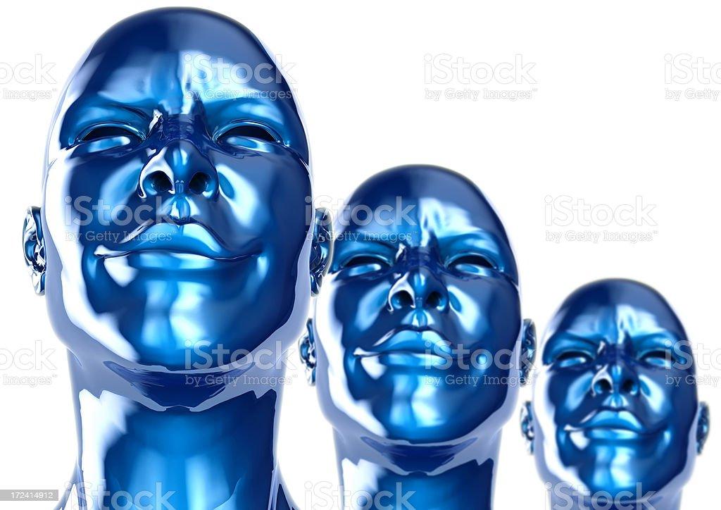 Metal Robot Bionic Womans Series Blue stock photo