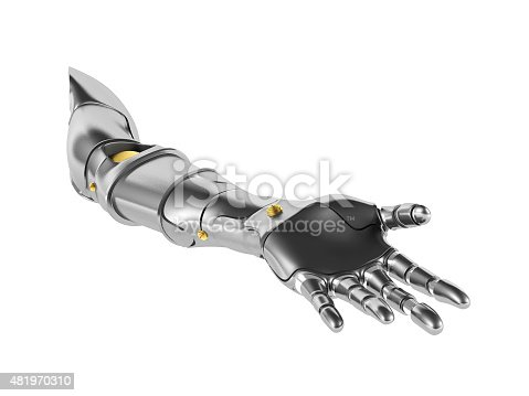 istock Metal robotic arm isolated on white background 481970310