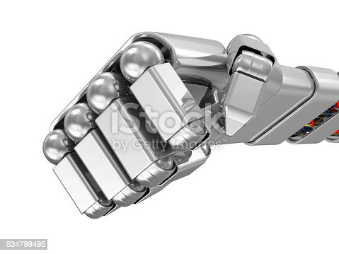 istock Metal Robotic Fist isolated on white background 534799495