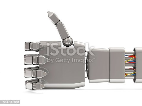 istock Metal Robotic Hand Showing Thumbs Up isolated on white background 534799483