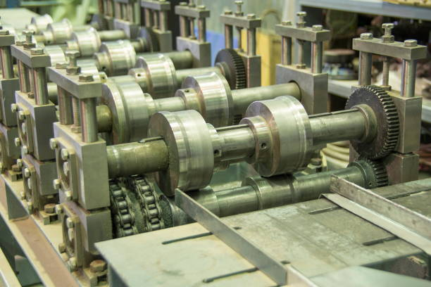 Metal rolling machine in a factory, Russia. stock photo