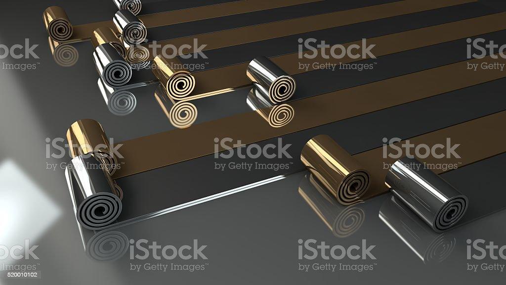 metal rolls unrolling on grey background 3d render stock photo