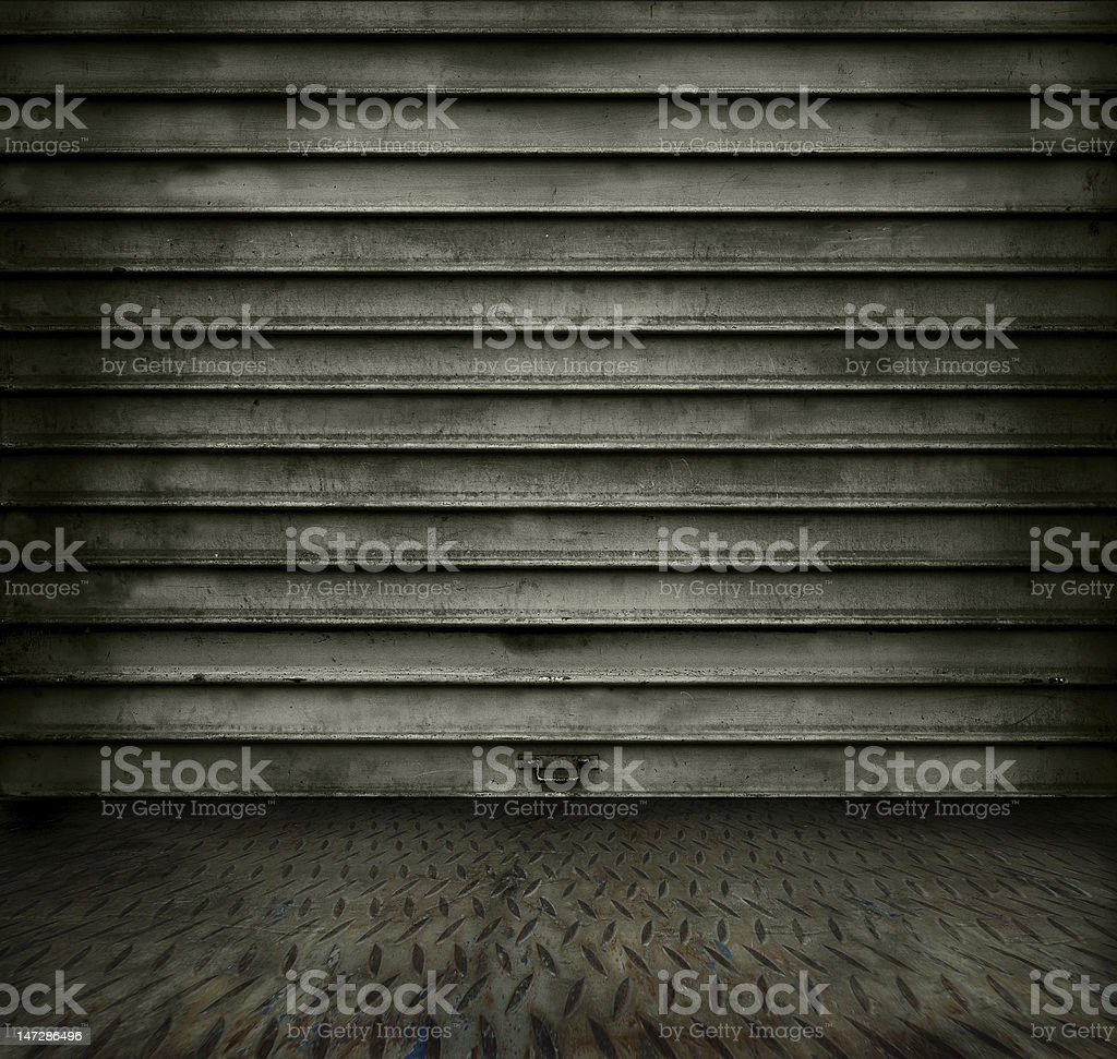 Metal room with door royalty-free stock photo