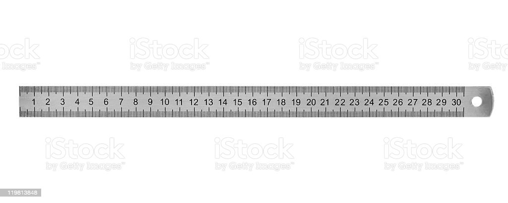 Metal ruler 30 cm stock photo