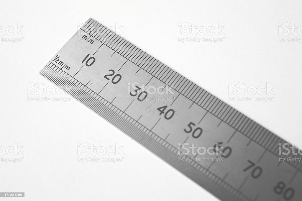 Metal ruler in black and white stock photo