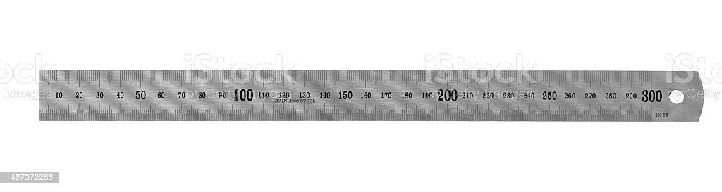 Metal ruler isolated stock photo