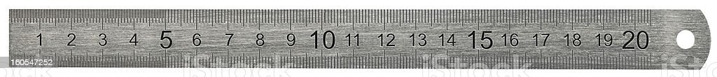 Metal ruler on white background, clipping path royalty-free stock photo