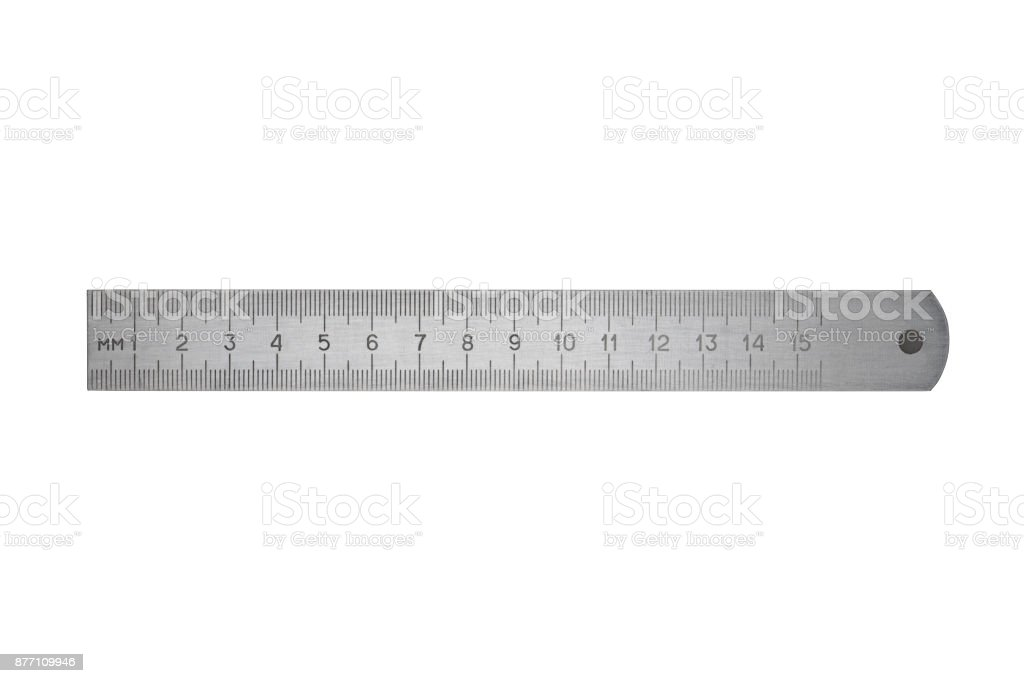 Metal ruler on white stock photo