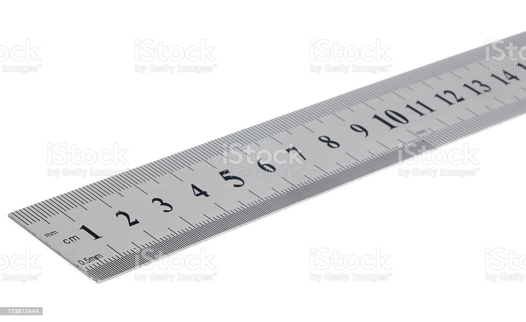 Metal ruler stock photo