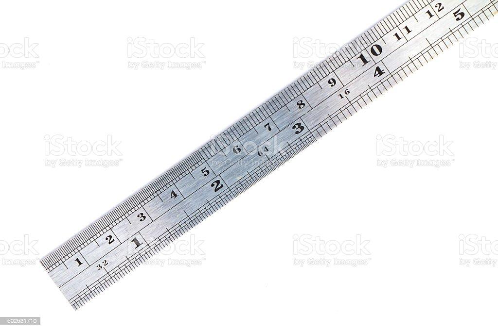 Metal ruler stock photo