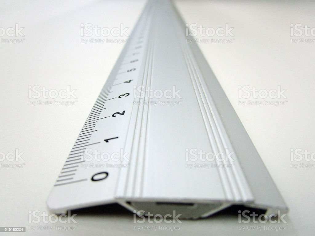 Metal ruler with centimeter scale stock photo