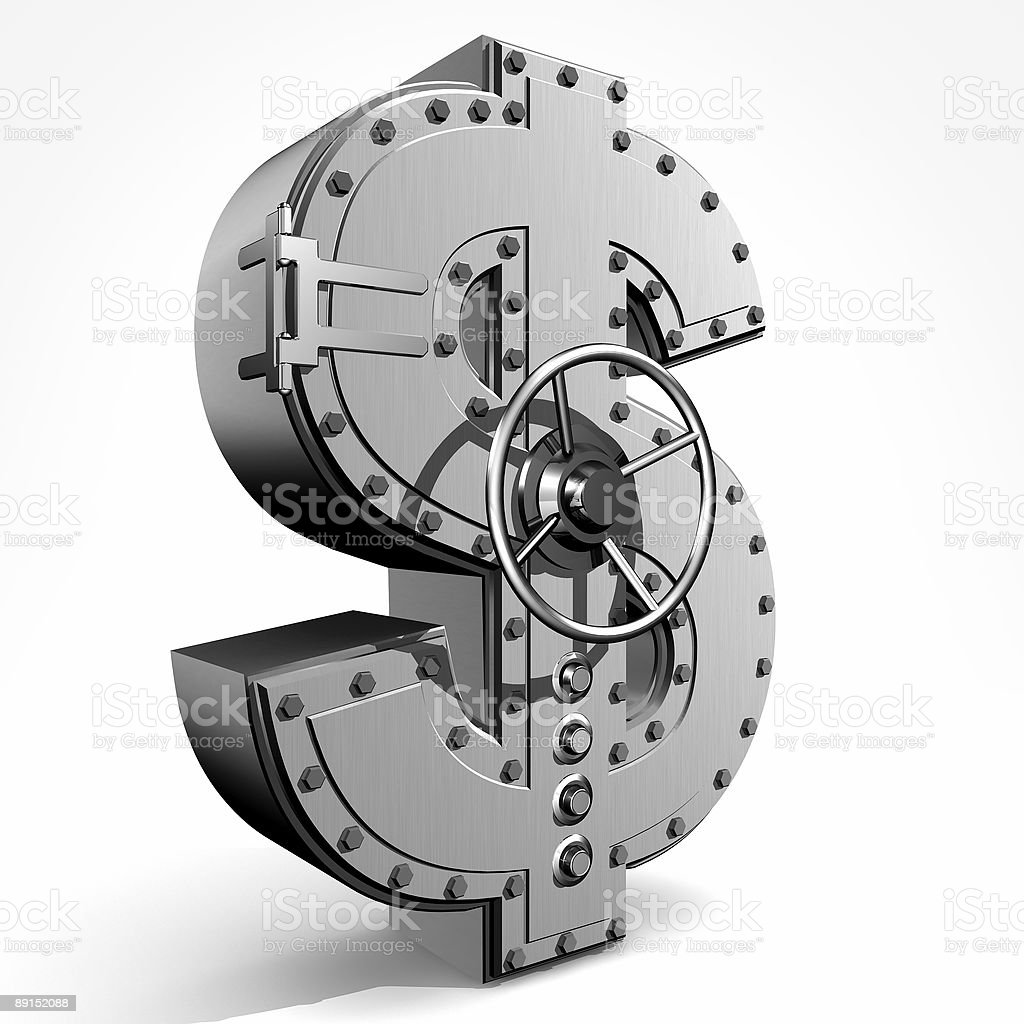 A metal safe in the shape of a dollar sign stock photo