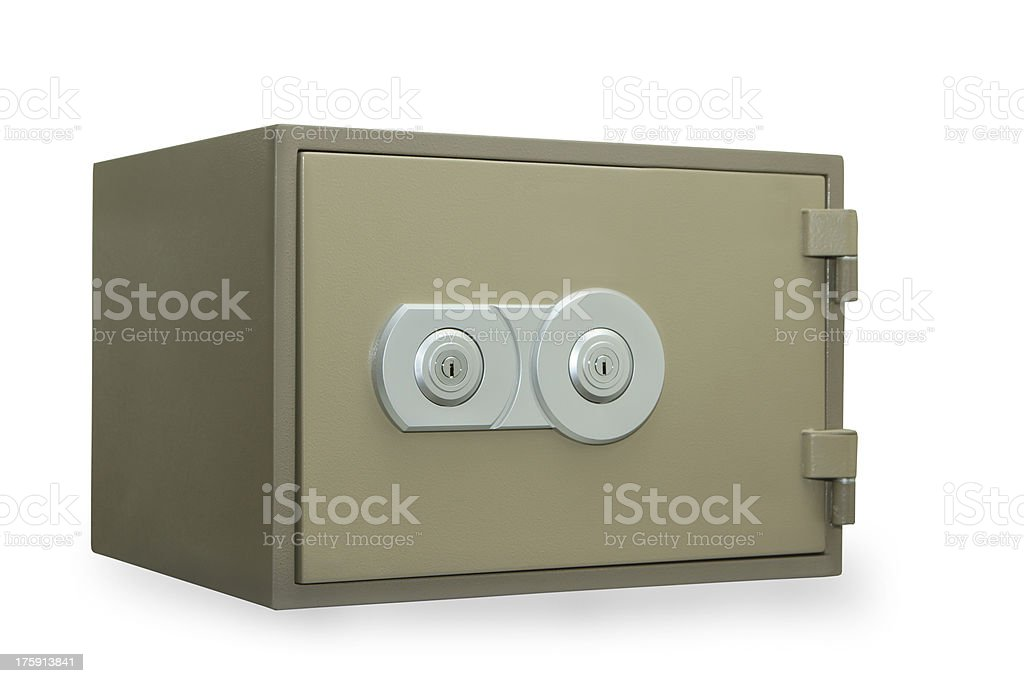 Metal safe isolated on white royalty-free stock photo