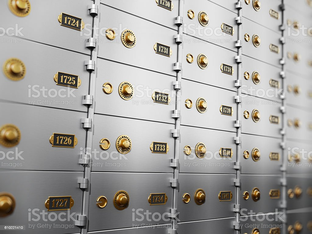 Metal safety deposit boxes stock photo