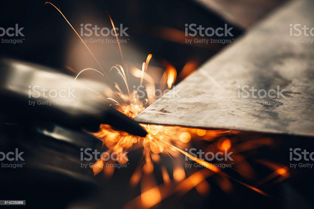 Metal sawing close up stock photo