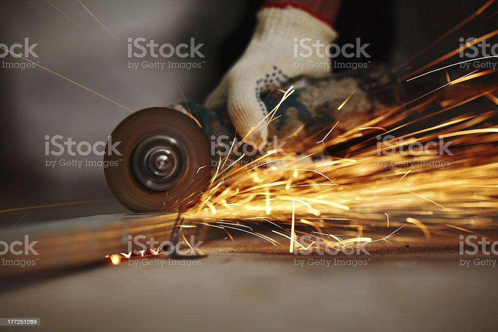 metal sawing stock photo