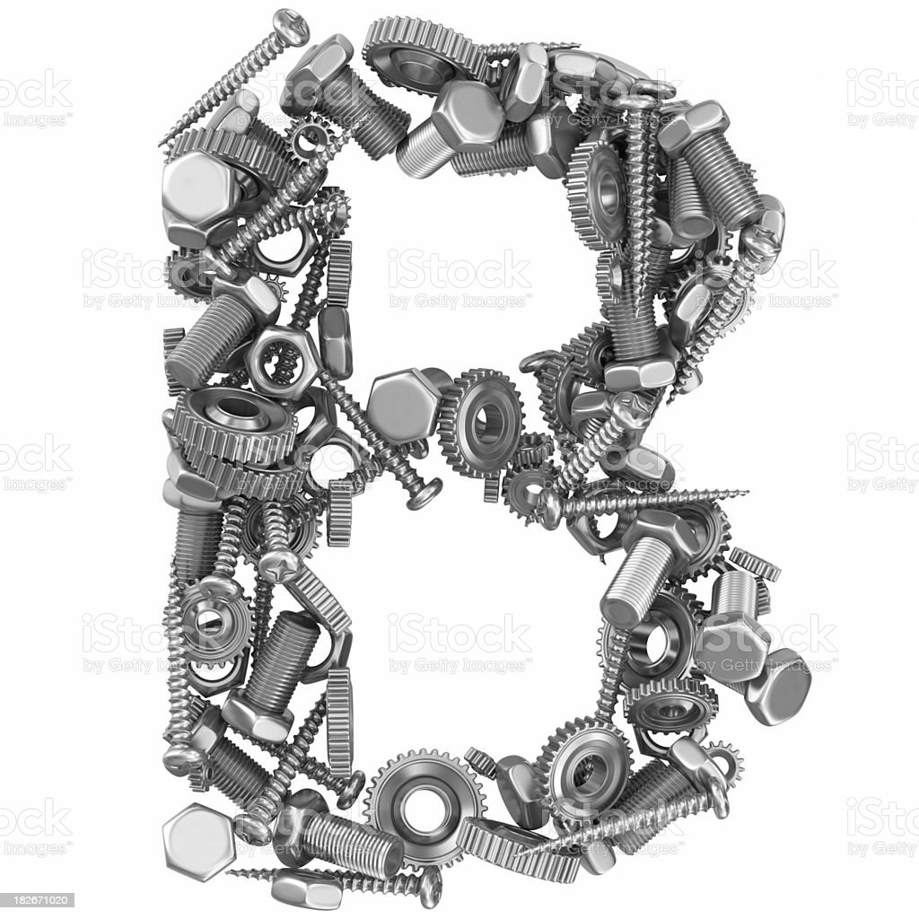 metal screw and gear letter B royalty-free stock photo