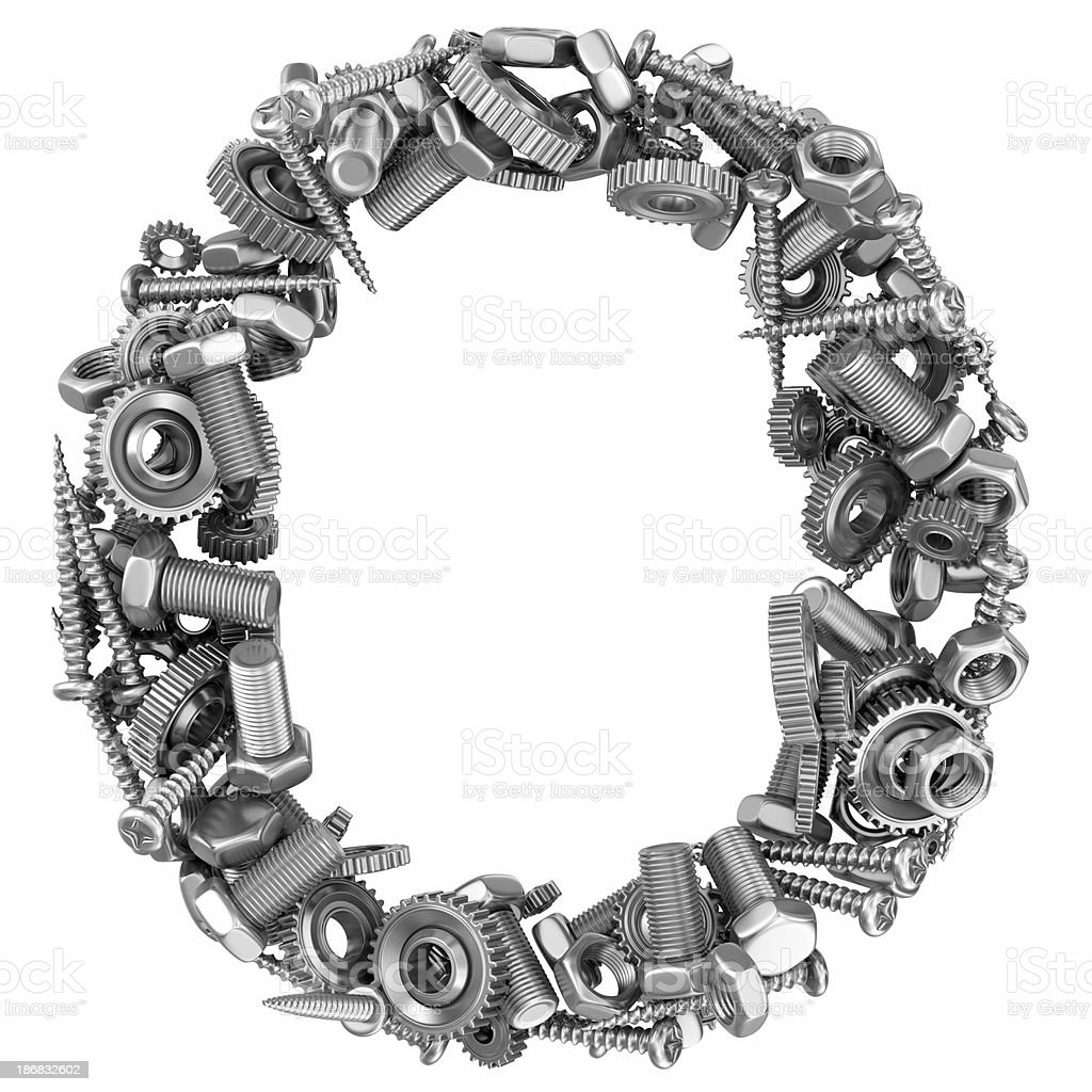 metal screw and gear letter O royalty-free stock photo