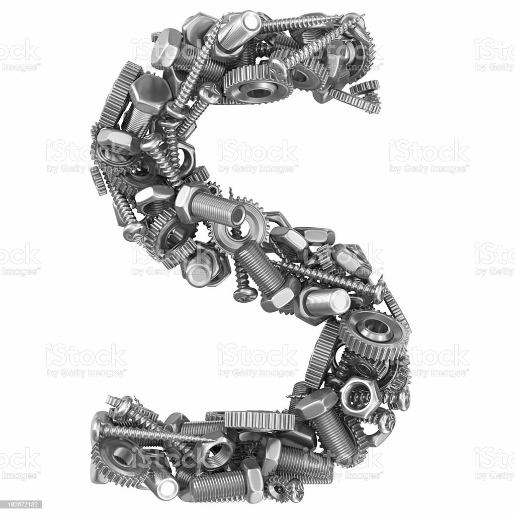 metal screw and gear letter S stock photo
