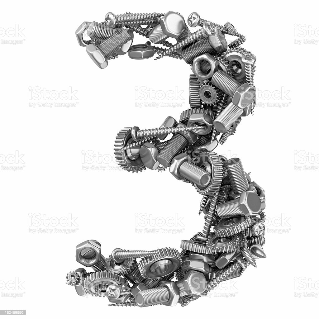 metal screw and gear number 3 royalty-free stock photo
