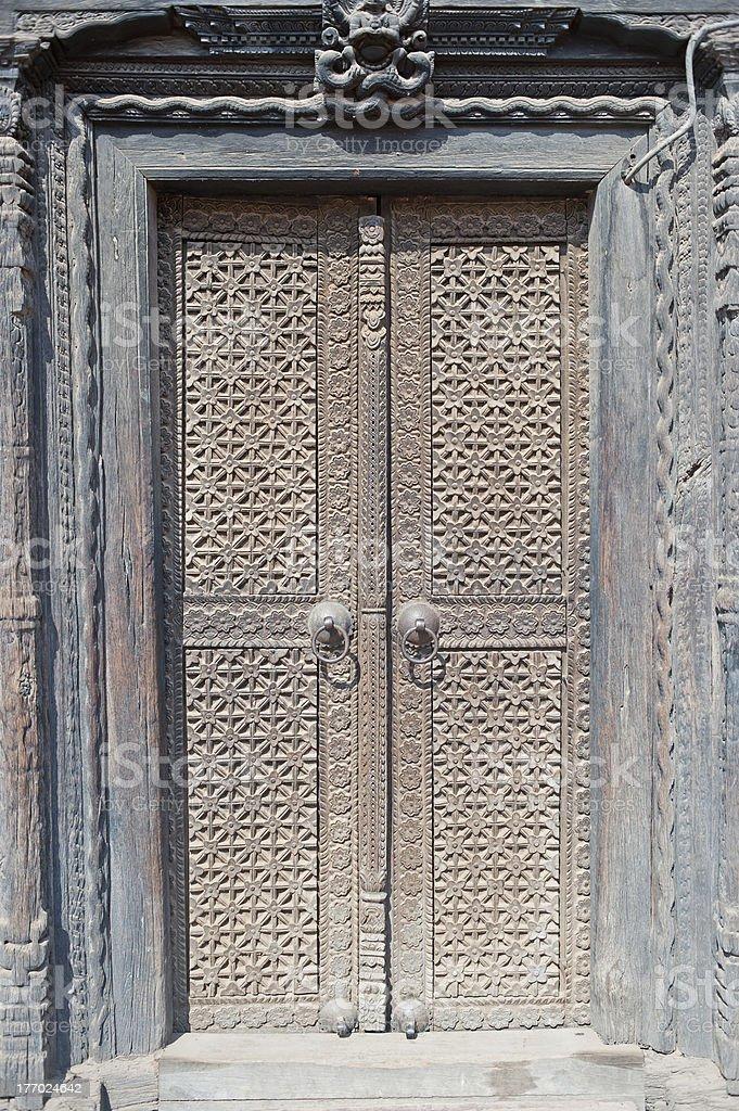 Metal sculpture door,Nepal royalty-free stock photo