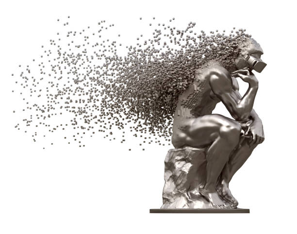 metal sculpture thinker with vr glasses desintegrated into 3d pixels - disintegrate stock pictures, royalty-free photos & images