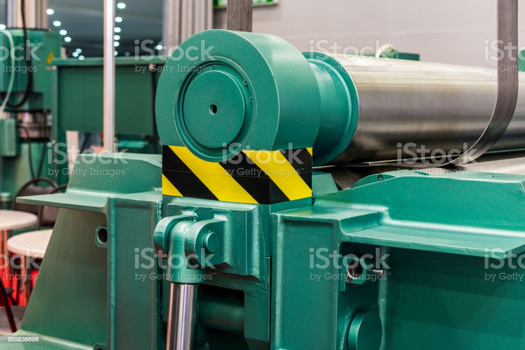Metal sheet bending machine with CNC stock photo