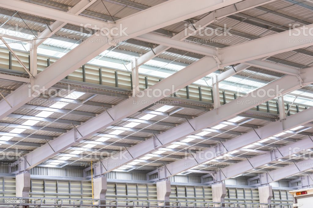 Metal Sheet Roof And Steel Structure At Factory Stock Photo