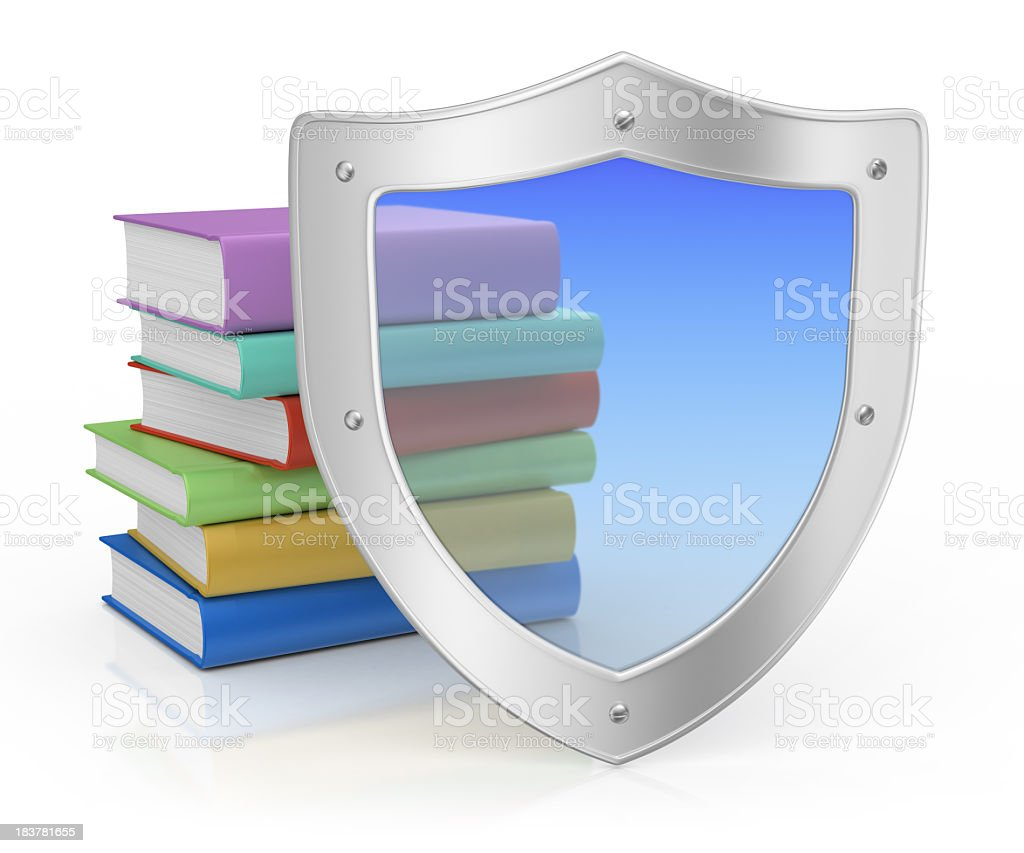 Metal Shield and Books royalty-free stock photo