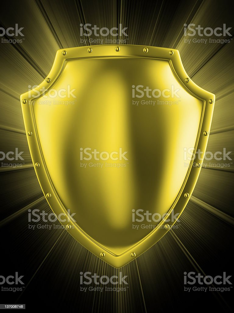 metal shield. clipping path included. royalty-free stock photo