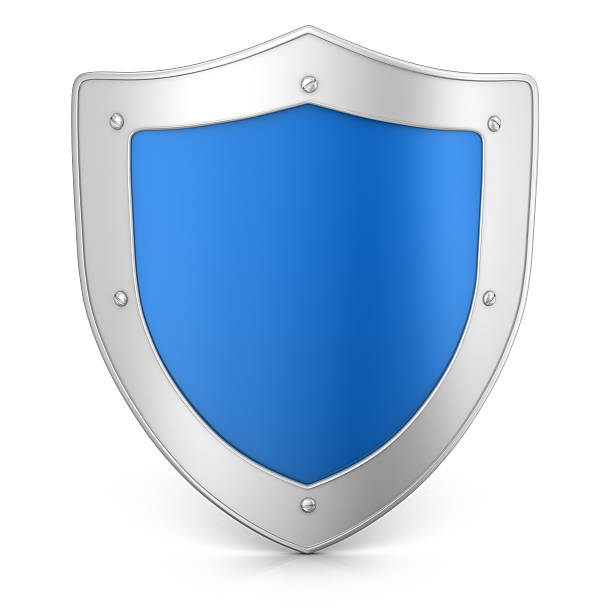 Metal Shield 3d render. Shield  isolated on white background. shielding stock pictures, royalty-free photos & images