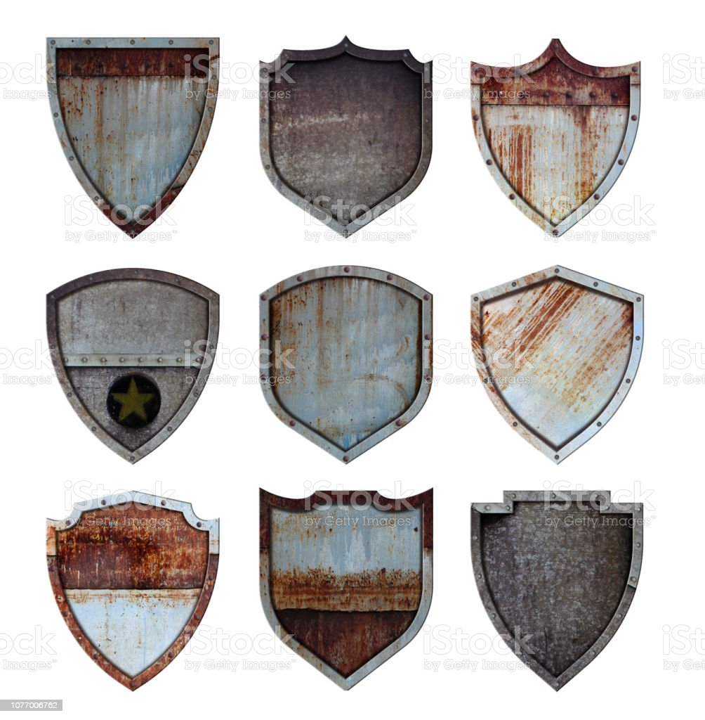 Metal shield protected steel icons sign set isolated on white background, With objects clipping path for design work stock photo