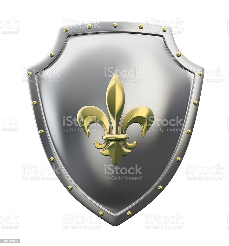 metal shield with lily symbol royalty-free stock photo