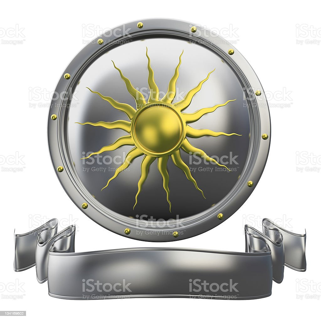 metal shield with sun symbol and ribbon, royalty-free stock photo