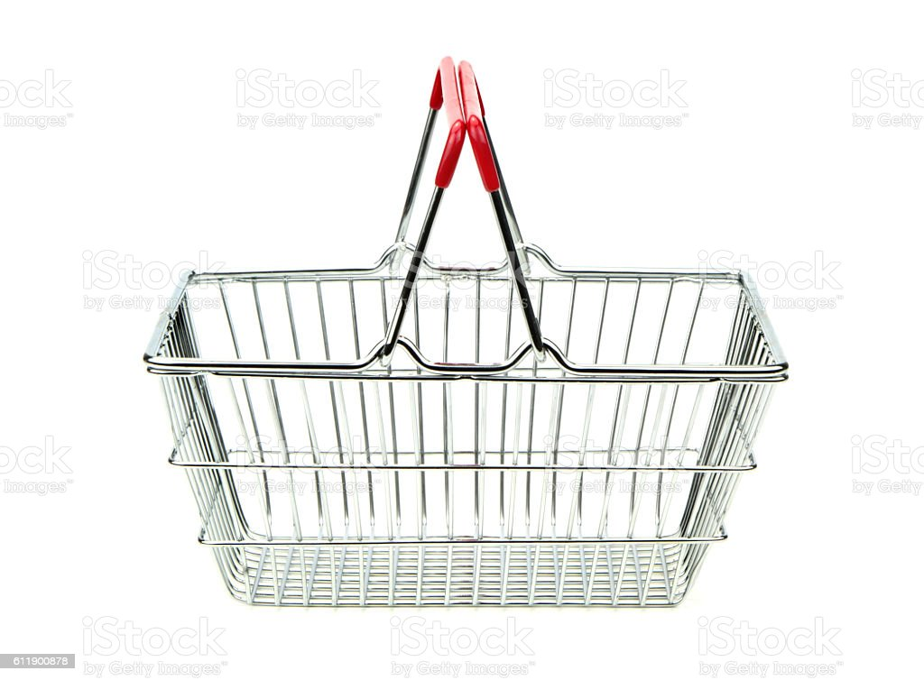Metal shopping basket isolated on white background. stock photo