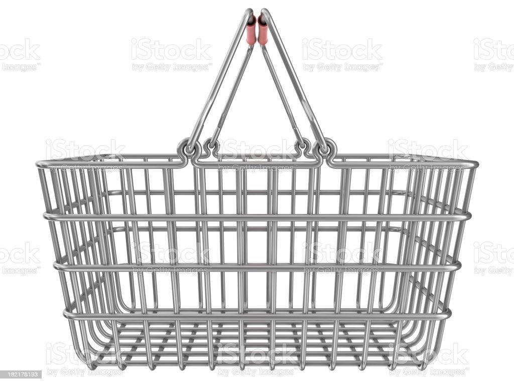 metal shopping basket stock photo