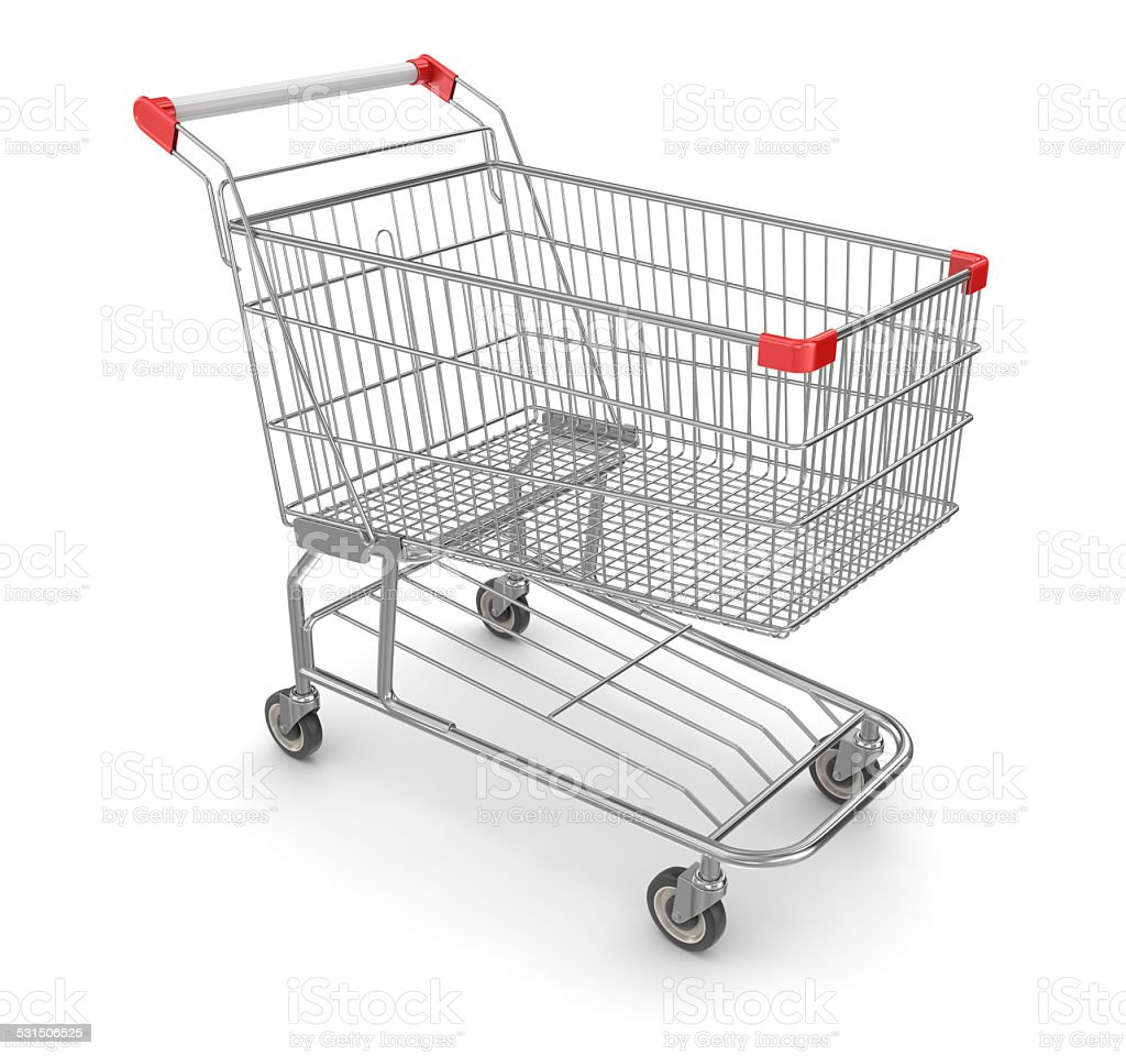 Metal Shopping Cart - Isolated on White stock photo