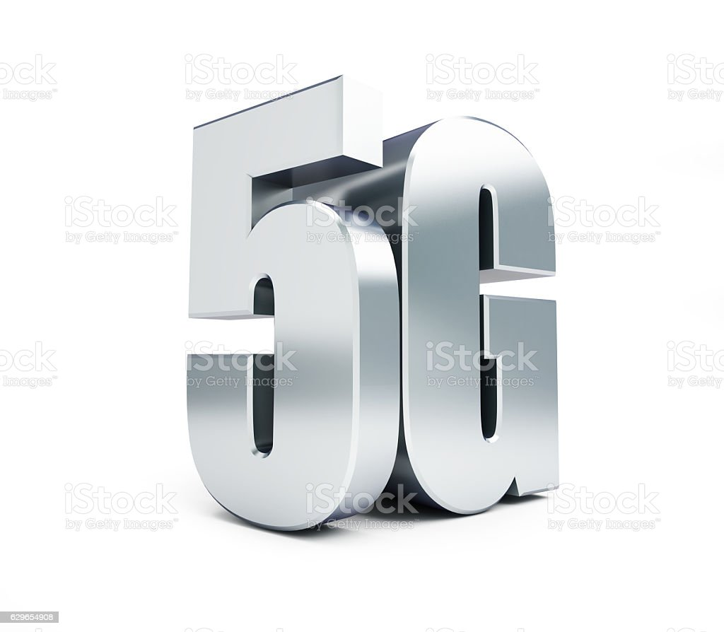5G metal sign, 5G cellular high speed data wireless connection. stock photo
