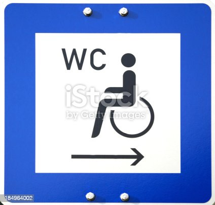 istock Metal sign to toilet for handicapped 184964002