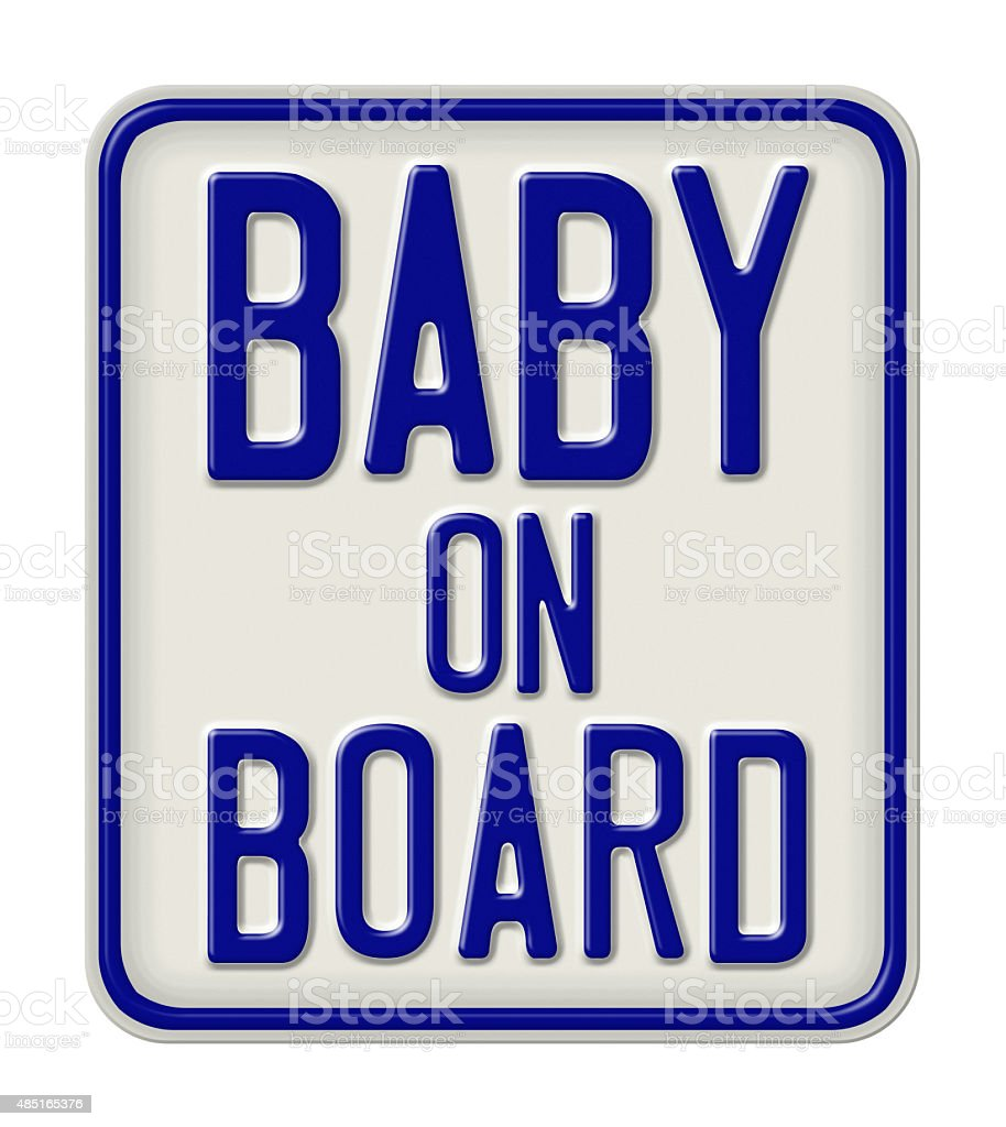 Metal sign with the inscription Baby on board stock photo