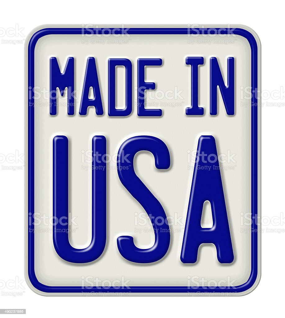 Metal sign with the inscription Made in USA stock photo