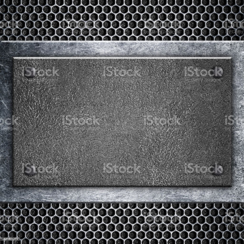 metal signboard attached to grid, background for writing, 3d, illustration stock photo