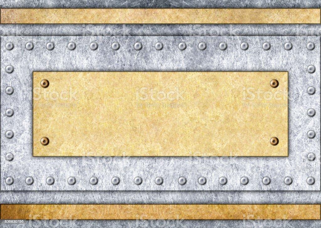 metal signboard, bronze or brass frame, background, 3d, illustration stock photo