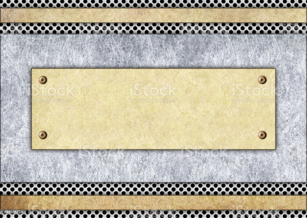 metal signboard, bronze or brass frame, background stock photo